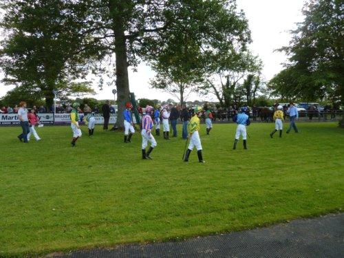 Jockeys await their mounts at Sligo Races
