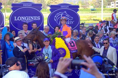 Beholder ridden by Gary Stevens wins the Breeders' Cup Distaff at Santa Anita