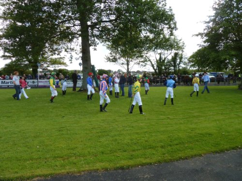 Jockeys await their mounts at Sligo Races