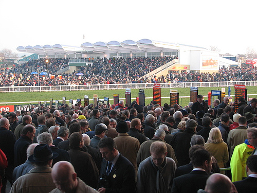 Racegoers wait for the off